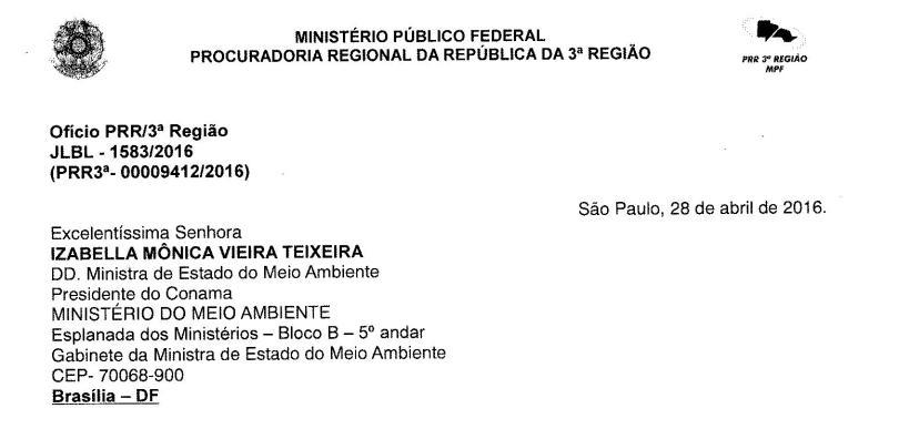 Ofício para o Ministério do Meio Ambiente