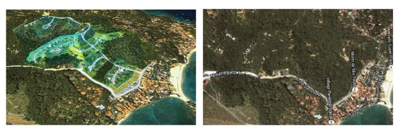 Perspectivas acessadas no site do empreendimento (à esquerda) e imagens de satélite da área mostram que o projeto pretende avançar sobre área não ocupada, de mata exuberante, abrangendo diversas zonas da APA das ilhas de Tinharé e Boipeba