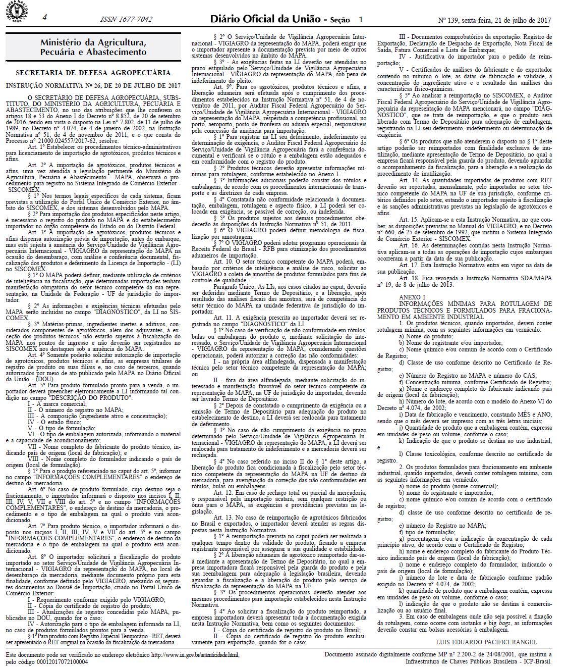 novas regras de importação de agrotóxicos